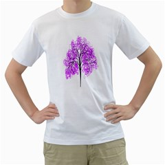 Purple Tree Men s T-Shirt (White) (Two Sided)
