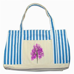 Purple Tree Striped Blue Tote Bag