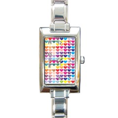 Heart Love Color Colorful Rectangle Italian Charm Watch