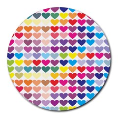 Heart Love Color Colorful Round Mousepads