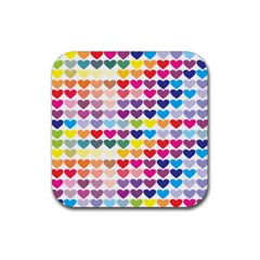 Heart Love Color Colorful Rubber Square Coaster (4 pack)