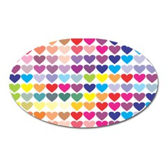 Heart Love Color Colorful Oval Magnet