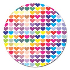 Heart Love Color Colorful Magnet 5  (Round)