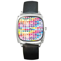 Heart Love Color Colorful Square Metal Watch