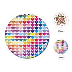 Heart Love Color Colorful Playing Cards (Round)