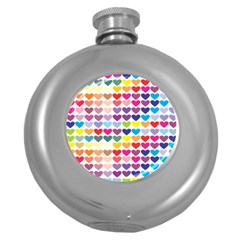 Heart Love Color Colorful Round Hip Flask (5 oz)
