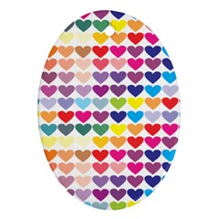 Heart Love Color Colorful Oval Ornament (Two Sides)