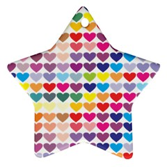 Heart Love Color Colorful Star Ornament (Two Sides)