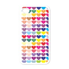 Heart Love Color Colorful Apple iPhone 4 Case (White)