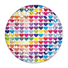 Heart Love Color Colorful Ornament (Round Filigree)