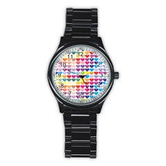 Heart Love Color Colorful Stainless Steel Round Watch