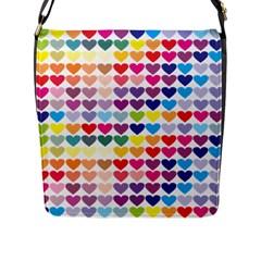 Heart Love Color Colorful Flap Messenger Bag (L)