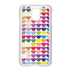 Heart Love Color Colorful Samsung Galaxy S5 Case (White)
