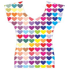 Heart Love Color Colorful Women s V-Neck Cap Sleeve Top