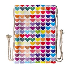 Heart Love Color Colorful Drawstring Bag (Large)