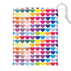 Heart Love Color Colorful Drawstring Pouches (XXL)