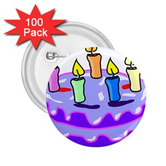 Cake Happy Birthday 2.25  Buttons (100 pack)