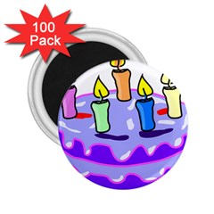 Cake Happy Birthday 2.25  Magnets (100 pack)
