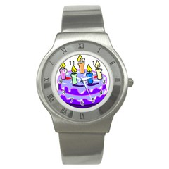 Cake Happy Birthday Stainless Steel Watch