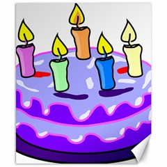 Cake Happy Birthday Canvas 8  x 10