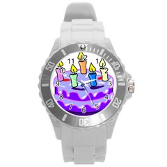 Cake Happy Birthday Round Plastic Sport Watch (L)