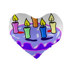 Cake Happy Birthday Standard 16  Premium Heart Shape Cushions