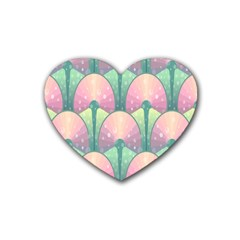 Seamless Pattern Seamless Design Rubber Coaster (Heart)