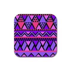 Seamless Purple Pink Pattern Rubber Coaster (Square)