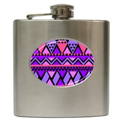 Seamless Purple Pink Pattern Hip Flask (6 oz)