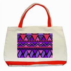 Seamless Purple Pink Pattern Classic Tote Bag (Red)