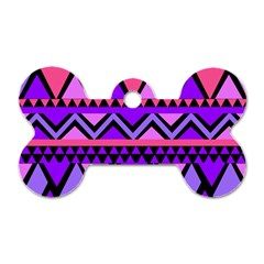 Seamless Purple Pink Pattern Dog Tag Bone (One Side)