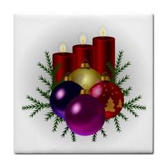 Candles Christmas Tree Decorations Tile Coasters