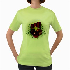 Candles Christmas Tree Decorations Women s Green T-Shirt