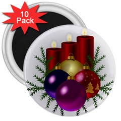 Candles Christmas Tree Decorations 3  Magnets (10 pack)