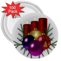 Candles Christmas Tree Decorations 3  Buttons (100 pack)
