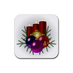 Candles Christmas Tree Decorations Rubber Coaster (Square)