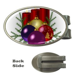 Candles Christmas Tree Decorations Money Clips (Oval)