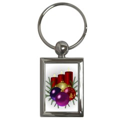 Candles Christmas Tree Decorations Key Chains (Rectangle)