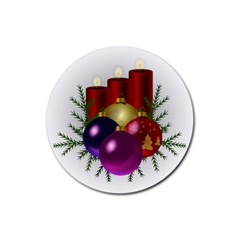 Candles Christmas Tree Decorations Rubber Coaster (Round)