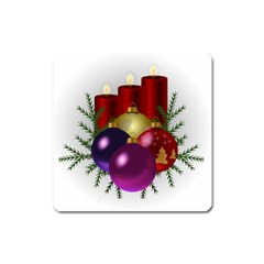 Candles Christmas Tree Decorations Square Magnet