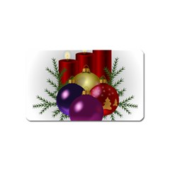 Candles Christmas Tree Decorations Magnet (Name Card)