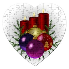 Candles Christmas Tree Decorations Jigsaw Puzzle (Heart)