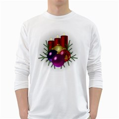 Candles Christmas Tree Decorations White Long Sleeve T-Shirts