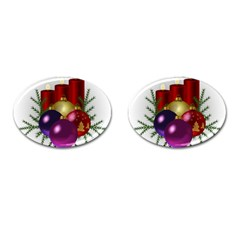 Candles Christmas Tree Decorations Cufflinks (Oval)