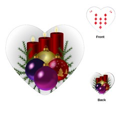 Candles Christmas Tree Decorations Playing Cards (Heart)