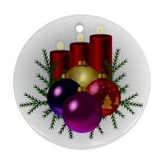 Candles Christmas Tree Decorations Round Ornament (Two Sides)