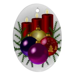 Candles Christmas Tree Decorations Oval Ornament (Two Sides)