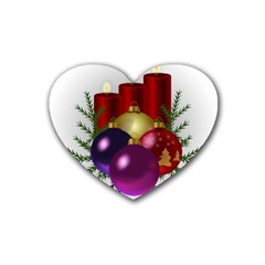 Candles Christmas Tree Decorations Heart Coaster (4 pack)