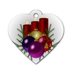 Candles Christmas Tree Decorations Dog Tag Heart (Two Sides)