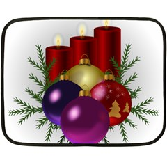 Candles Christmas Tree Decorations Double Sided Fleece Blanket (Mini)